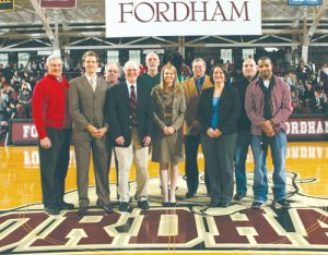 Inductees of the Fordham University Athletic Hall of Fame join established members at the Fordham-Richmond basketball game on Feb. 5. Photos courtesy of Fordham Athletics