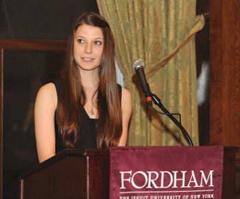 Kasia Laskowski (FCRH '10) thanks donors for their support of student recipients. Photo by Chris Taggart