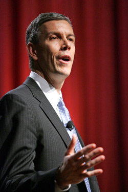 U.S. Secretary of Education Arne Duncan says at the Celebration of Teaching and Learning on March 12 that relative growth is more important than absolute test scores in judging a school's progress.