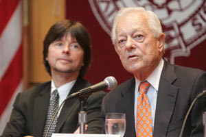 Ken Burns (left) and Bob Schieffer addressed the 2008 presidential election and other issues of the day during their appearance on Sept. 22 at Fordham.