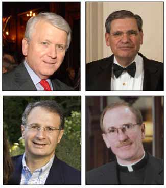 Clockwise, from top left: James E. Buckman, Esq. (FCRH '66), co-chair of the Board's Development and University Relations Committee; John N. Tognino (FCLS '75), chairman of the Fordham Board of Trustees; Joseph M. McShane, S.J., president of Fordham; and Trustee Thomas P. Salice (CBA '82)