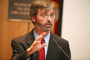 Moderator Terry Golway speaks to the audience at the 10th annual Russo Lecture.  Photo by Michael Dames