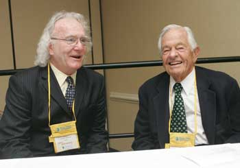Dean James Hennessy, Ph.D. (left) and Dr. T. Berry Brazelton at GSE's Sixth Annual Young Child Expo and Conference  Photo by Bruce Gilbert