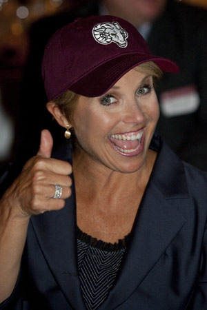 Katie Couric sports a new Fordham baseball cap after receiving the Brien McMahon Award for Public Service. Photo by Paul Fetters