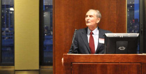 """Dominick Salvatore, Ph.D., Distinguished Professor and chair of the Department of Economics, moderates an April 14 discussion on """"Understanding the Current Economic Crisis"""" at Fordham's Lincoln Center campus. A panel of distinguished alumni as well as economic experts from different financial fields and markets gave insight on the economic crisis at home and abroad."""