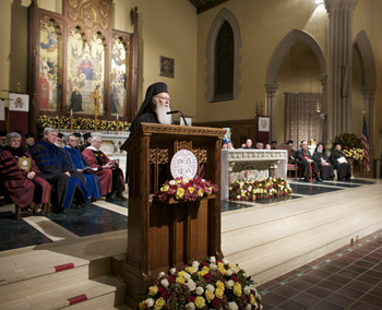"Ecumenical Patriarch Bartholomew accepts his honorary doctorate at the University Church and delivers an address on ""Discerning God's Presence in the World.""  Photo by Jon Roemer"
