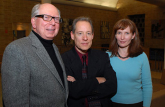 From left to right, honorees David Chabot, Ph.D., Matthew Maguire, M.F.A. and Evelyn Bush, Ph.D.  Photo by Ken Levinson