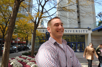 Nick Boire is one of many veterans who are attending Fordham thanks to the Post-9/11 GI Bill.  Photo by Gina Vergel