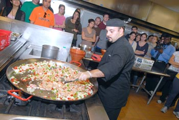 Chef Paco demonstrates how to make authentic Spanish paella for students and faculty. Photo by Ken Levinson