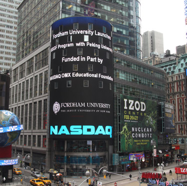 NASDAQ trumpets its support of the new Master of Science in Global Finance Program on its electronic billboard in Manhattan. Photo courtesy of NASDAQ OMX Group