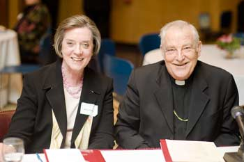 Karen Ristau, Ed.D., president of the National Catholic Educational Association, and Zenon Cardinal Grocholewski, prefect of the Vatican's Congregation for Catholic Education, at the GSE conference.  Photo by Ryan Brenizer