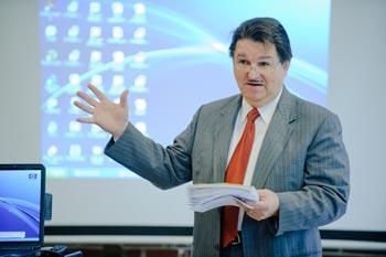 "Harold Takooshian, Ph.D., organized the ""Green Cities"" forum.  Photo Ryan Brenizer"