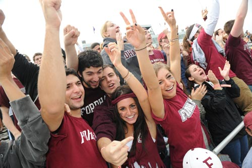 Fans who braved the rain were treated to a Fordham victory at Homecoming 2009.  Photo by Chris Taggart