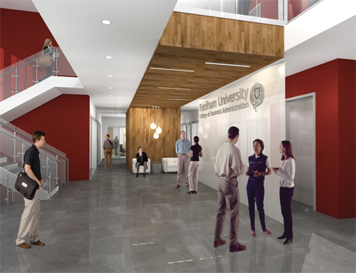 (above and below) The entrance to Hughes Hall will signify its place among the top centers of business learning on any college campus.