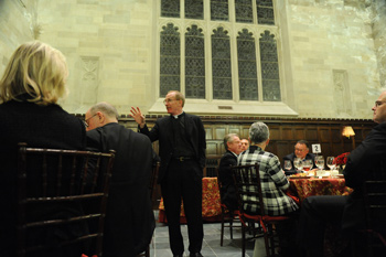 Joseph M. McShane, S.J., thanks members of the Archbishop Hughes Society for supporting Fordham in 2009.  Photo by Chris Taggart