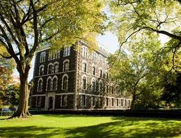 Named for Fordham founder Archbishop John Hughes, the building has stood near the center of the Rose Hill campus since 1891.