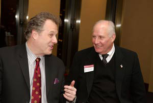 New York Yankees broadcaster Michael Kay (FCRH '82) reminisced with Director of Athletics Frank McLaughlin at a celebration on Feb. 5 honoring the 150th anniversary of baseball at Fordham.