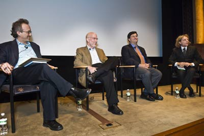 Panelists at the opening night of the Fordham Law Film Festival are (from l to r): Abner Greene, Benjamin Ginsberg, Ron Klain and Thane Rosenbaum. Photo by Salem Krieger