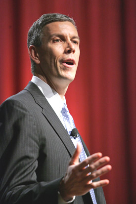 U.S. Secretary of Education Arne Duncan says  that relative growth is more important than  absolute test scores in judging a school's  progress. Photo by Bruce Gilbert