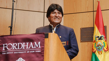 Evo Morales, president of Bolivia, plays up his peasant roots during his appearance at Fordham.  Photo by Ryan Brenizer
