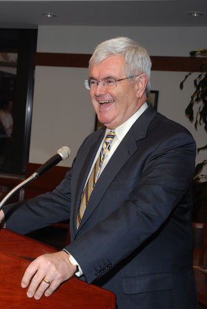 Newt Gingrich says that America has lost the courage to speak out on what is wrong. Photo by Ken Levinson