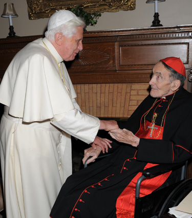 Pope Benedict XVI greets Avery Cardinal Dulles, S.J., at St. Joseph's Seminary (Dunwoodie), Yonkers, N.Y. Photo courtesy of L'Osservatore Romano