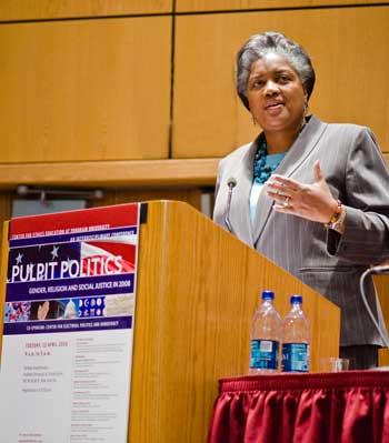 Donna Brazile speaking at Pulpit Politics  Photo by Ryan Brenizer