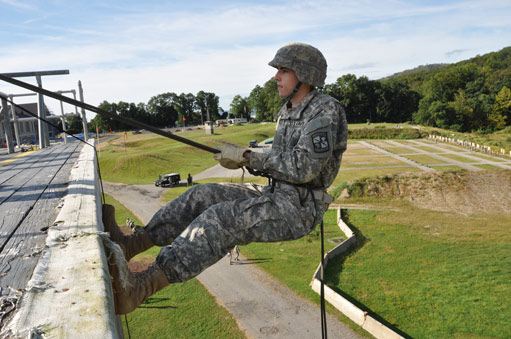 An ROTC cadet prepares for his first rappel at Camp Smith in Cortland Manor, N.Y. Photo by Joseph McLaughlin