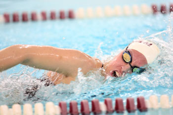 Megan McGorry placed second overall in the 1650 freestyle, with a school-record time of 16:58.64.  Photo courtesy of Fordham Athletics