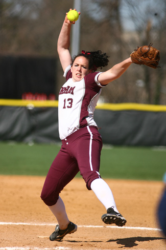 Sophomore Jen Mineau pitched the first seven-inning perfect game in Fordham's 25-year softball history. Photo courtesy of Fordham Athletics