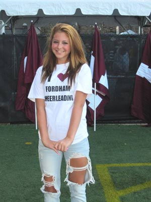 Meaghan Tully, who was diagnosed with germinoma brain cancer, has been adopted by the Fordham cheerleaders. Photo courtesy of Fordham Athletics