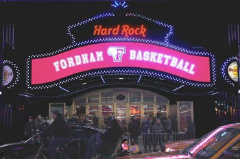 The Hard Rock Café marquee in Times Square trumpets Fordham basketball.  Photo by Michael Foley