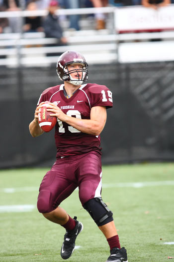 John Skelton finished his Fordham career as the University's all time leader in completions, yards and touchdowns.  Photo courtesy of Fordham Athletics
