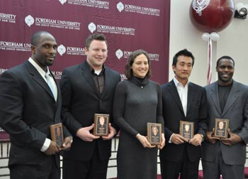 left to right: Javarus Dudley (CBA '04), Kevin Eakin (FCRH '04), Sophie Namy (FCRH '00), Akira Kosugi (CBA '96) and Kirwin Watson (FCRH '04). Ioana Dragan (CBA' 02) could not attend the ceremony.  Photo by Gina Vergel