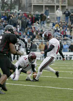 Matt Fordyce (FCRH '03) became the first kicker in Patriot League history to be named First Team All-Conference as a punter and a placekicker. Photo courtesy of Fordham Athletics