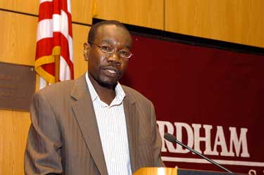 "Amir Idris, Ph.D., speaks at ""Sudan's Peace Agreements: Progress and Challenges.""  Photo by Ken Levinson"