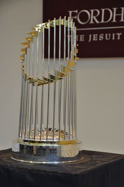Fans of Fordham Athletics could get up close and personal with the Yankees' World Series trophy. Photo by Gina Vergel
