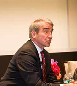 Actor Sam Waterston discussed his iconic character, Assistant District Attorney Jack McCoy on Law and Order, at a Fordham Law forum on Nov. 19.