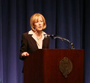 On Jan. 15, Judy Woodruff, senior correspondent with The News Hour with Jim Lehrer, discussed international and domestic issues facing the Obama administration.