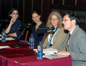 Dorothy Day's granddaughter, Kate Hennessy (third from left) sits on a panel at The Catholic Worker at 75. Photo by Bruce Gilbert