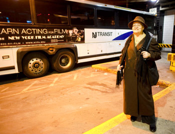 Road Warrior: Fredrica Patterson, a 22-year Fordham employee, arrives at the Port Authority Bus Terminal each day from Ocean County, N.J.  Photo by Ryan Brenizer