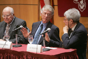 Journalist Ted Koppel (center) discussed a range of issues with Av Westin (right), former senior vice presdent of ABC News, and Bill Small (left), chairman of the News and Documentary Emmy Awards. Photo by Bruce Gilbert