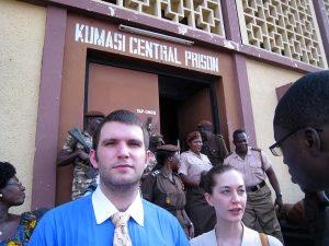 Patrick Nagler, LAW '11 and Jennifer Pope, LAW '11, tour Kumasi Central Prison.