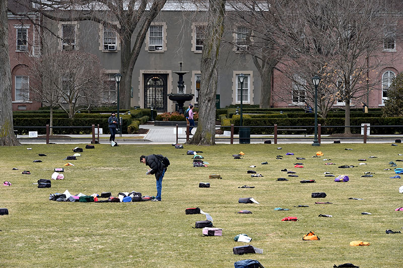 The exhibit features 1,100 backpacks to represent the number of students who die by suicide each year. Photo by Dana Maxson