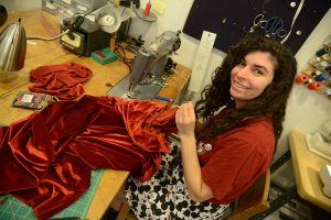 Senior Anna Abowd has been in the costume shop since freshman year.