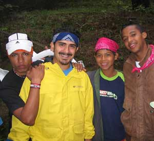 Peace Corps Fellow Andrés H. Romero (second from left), with Costa Rican youths.