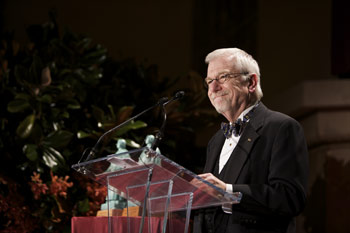 William F. Baker, Ph.D., serves as master of ceremonies at the 2008 Founder's Award Dinner. Photo by Leo Sorel