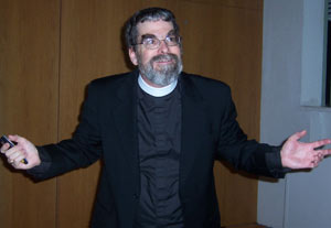 Brother Guy Joseph Consolmagno, S.J., this year's Loyola Chair in Physics at Fordham. Photo by John DeSio, FCRH '00