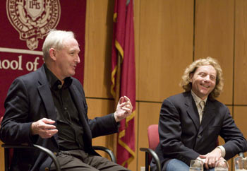 Author Christopher Buckley (left) and Thane Rosenbaum, J.D., John Whelan Distinguished Lecturer of Law at Fordham, at the October screening of Thank You for Smoking, based on Buckley's novel. Photo by Nancy Adler