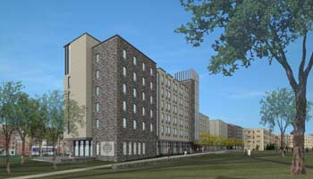 An architect's rendering of new residence halls that are scheduled to open in June 2010.  Image courtesy of Sasaki Associates, Inc